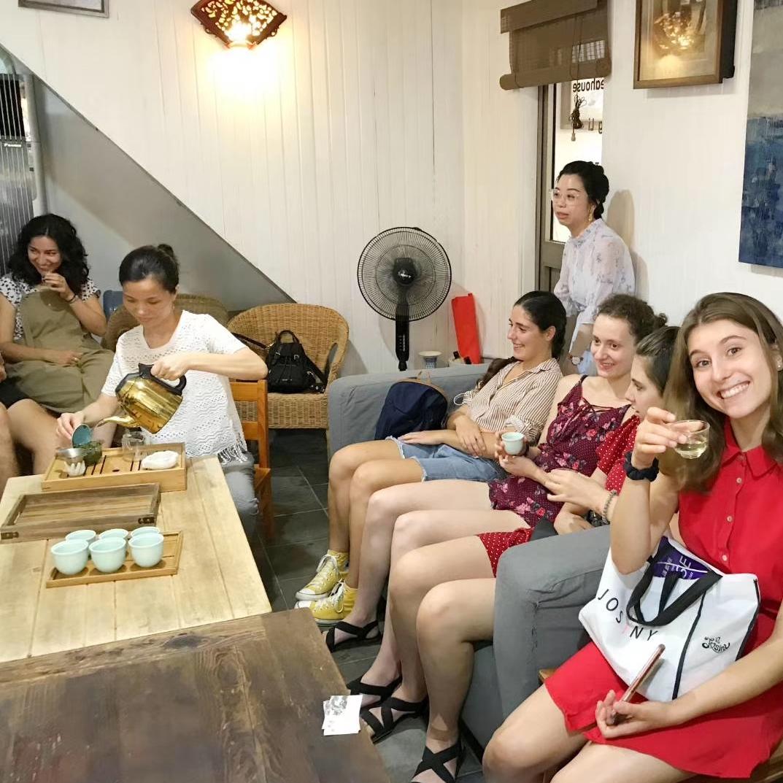Homestay tutors enjoying a Chinese tea ceremony in Shanghai